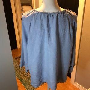 J. Jill Tops - J. Jill blue linen embroidered top size medium